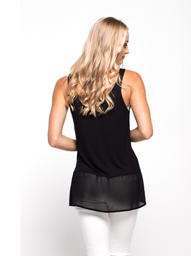 Zafina Longline Top - Black