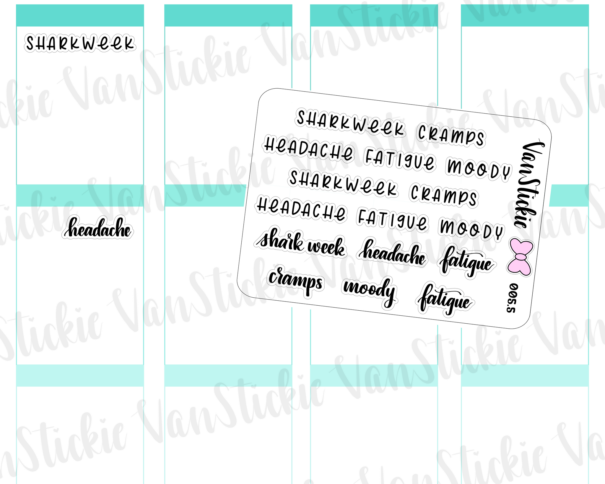 "MSC 005.5| Mini sheet - hand lettering ""shark week"" and symptoms"