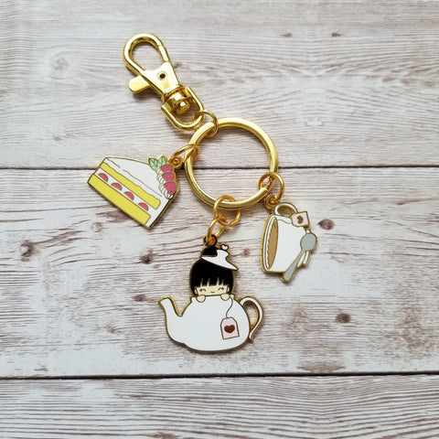 Vanstickie Tea Party Keychain with 3 charms and circular key ring