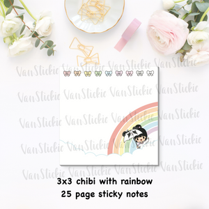 "3x3""Chibi and Rainbow Sticky Note Pad (Notes 25 Pages)"