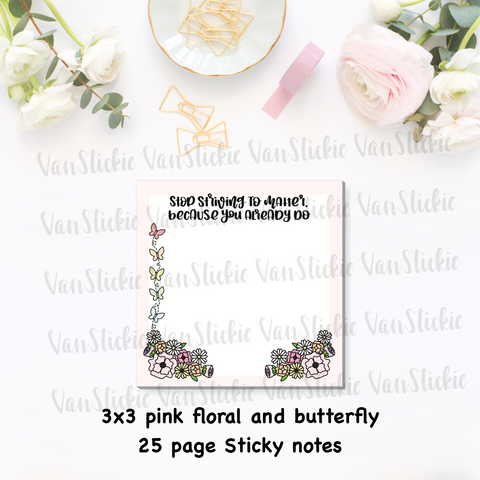 "3x3"" Pink floral with butterflies Sticky Note Pad (Notes 25 Pages)"