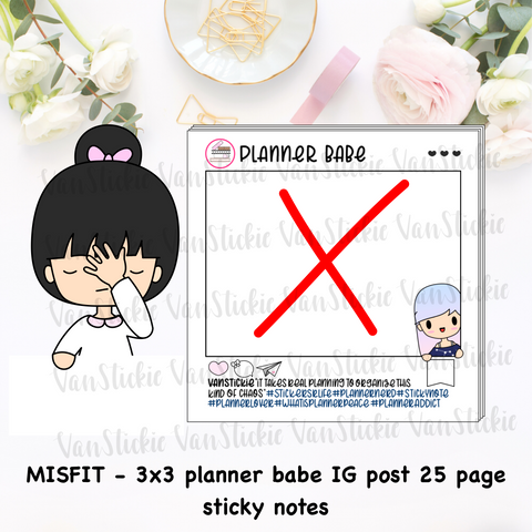 "MISFIT - 3x3"" Planner Babe IG post Sticky Note Pad (Notes 25 Pages)"