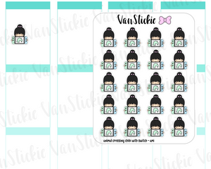 VSC 107| Animal Crossing chibis with a swtich Planner Stickers