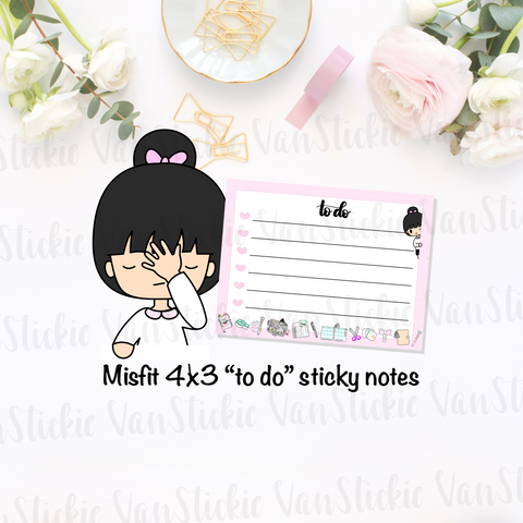 "Misfit 4x3 chibi ""to do"" sticky notes"