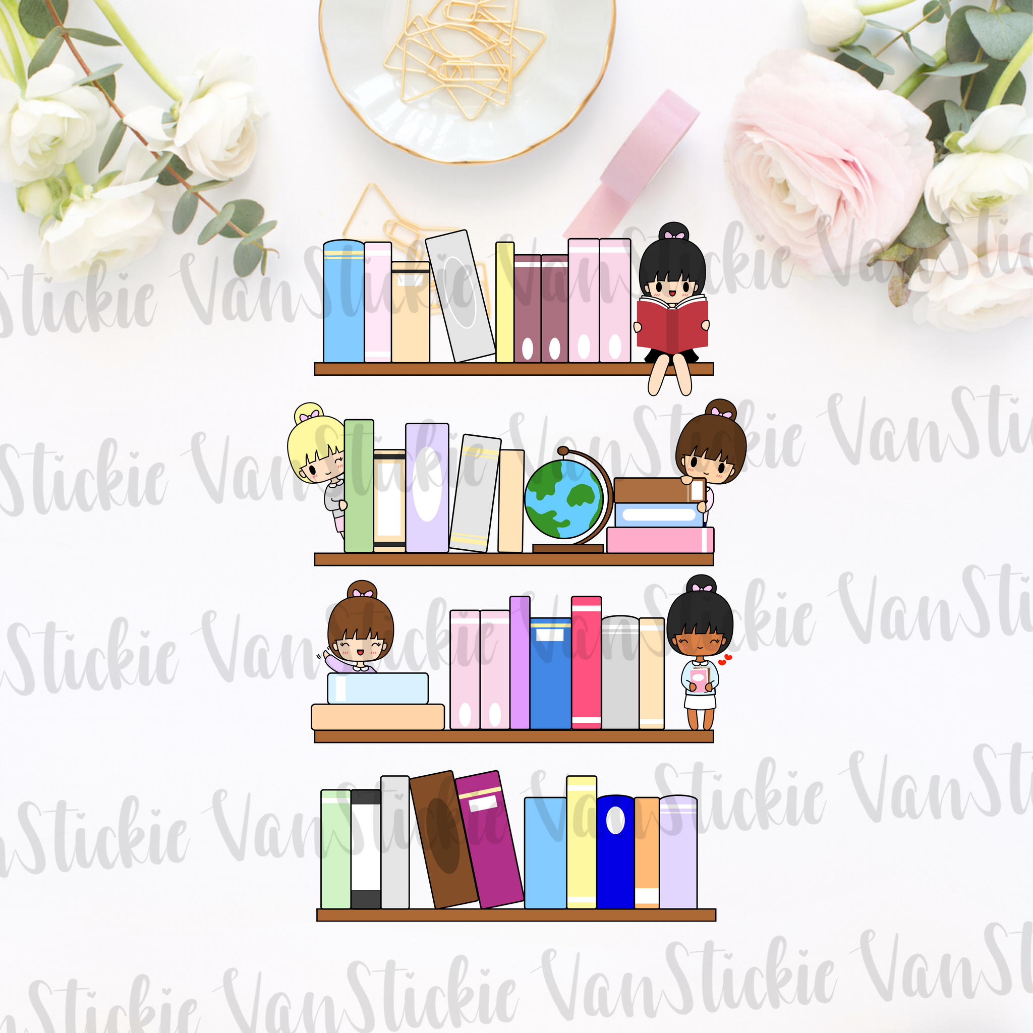 DIGITAL DOWNLOAD - Chibi book case stack