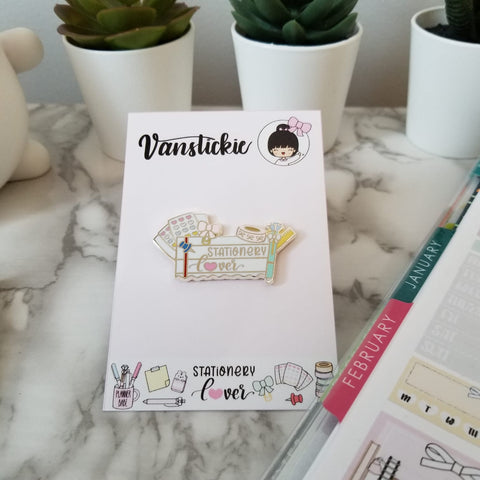 """Stationery Lover"" enamel pin"