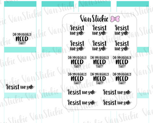 W065| Hand Lettering Stickers - Resist the Sale set