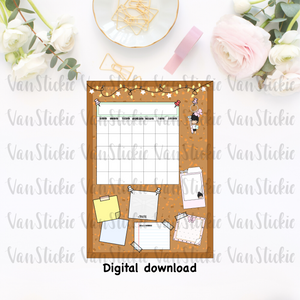 DIGITAL DOWNLOAD - cork board with blank calendar and reminders postcard/dashboard