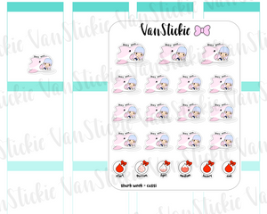 VSO 010 | Shark week - Ombre Haired Chibit Planner Stickers