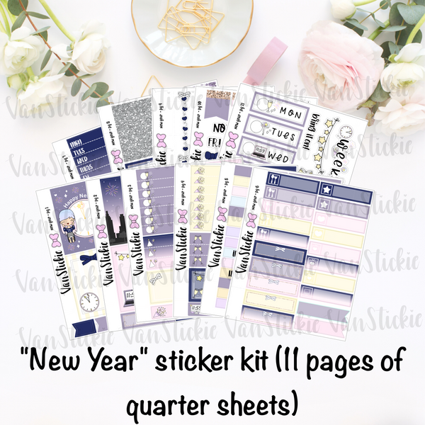 """New Year"" - sticker kit (11 pages of quarter sheets)"