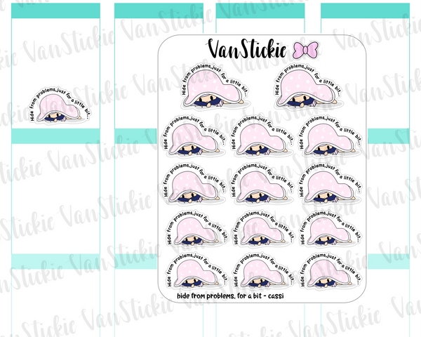 VSO 029 | hiding from problems - Ombre Haired Chibit Planner Stickers