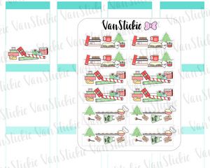VSD 095| Doodle - Christmas themed desk deco stickers (traditional colours)
