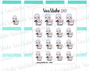 VSO 028 | galaxy bubble tea - Ombre Haired Chibit Planner Stickers