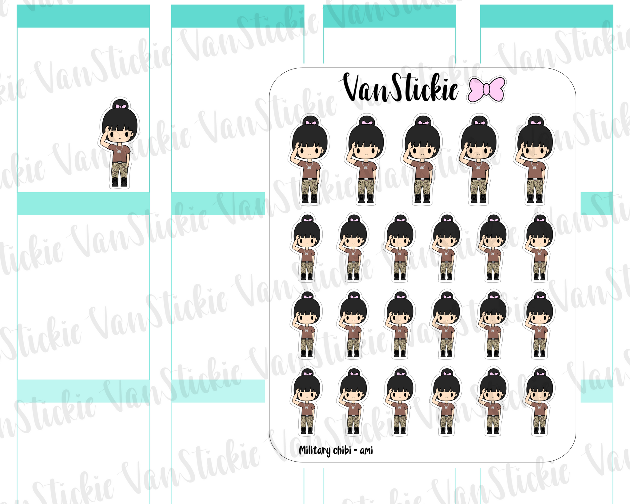 VSC 102| Military (female) Chibi Planner Stickers
