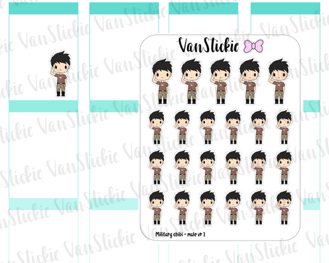 VSC 103| Military (male) Chibi Planner Stickers