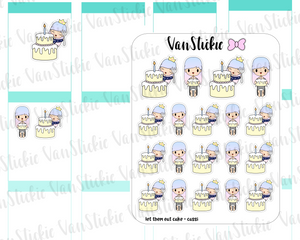 VSO 021 | let them eat cake! Ombre Haired Chibit Planner Stickers