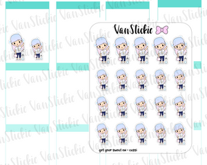 VSO 025 | Get your sweat on - Ombre Haired Chibit Planner Stickers