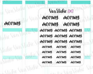 "W076| Hand Lettering Stickers - ""meeting"""
