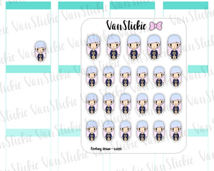 VSO 018 | Feeling Down - Ombre Haired Chibit Planner Stickers