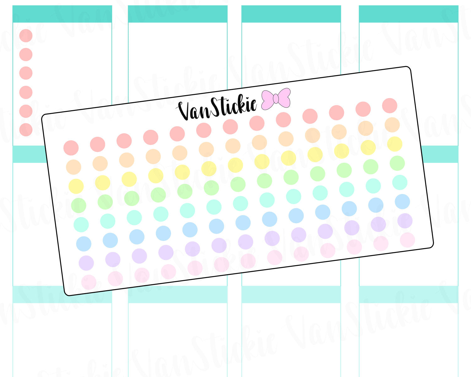 F022 - Pastel Rainbow Dot Planner stickers
