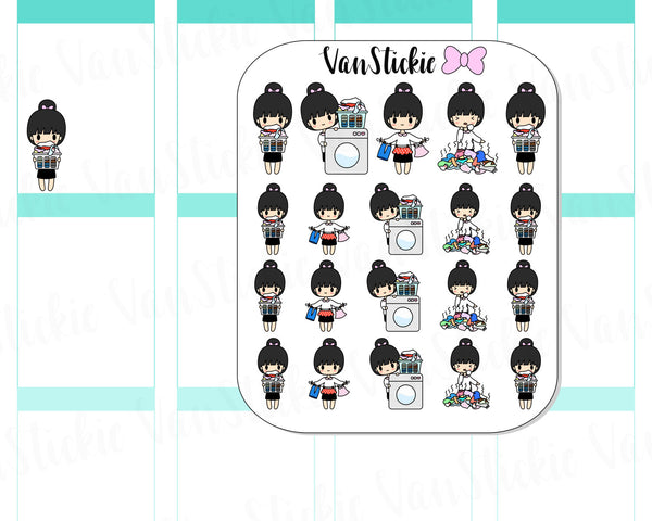 VSC 010 | Chibits - Laundry Day Planner Stickers