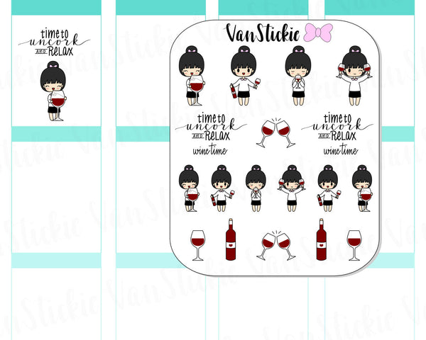 VSS 018 | Chibits Set - Uncork and Relax Planner Stickers
