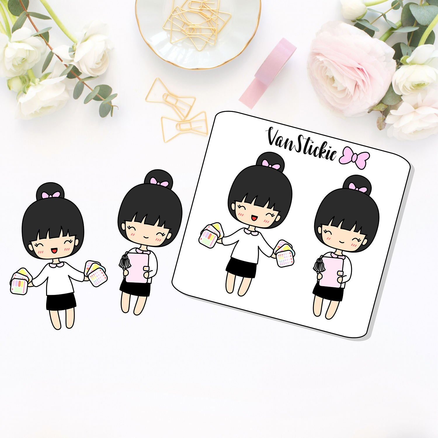 Chibits - Planner Girl Jumbo Sticker and Die Cut set