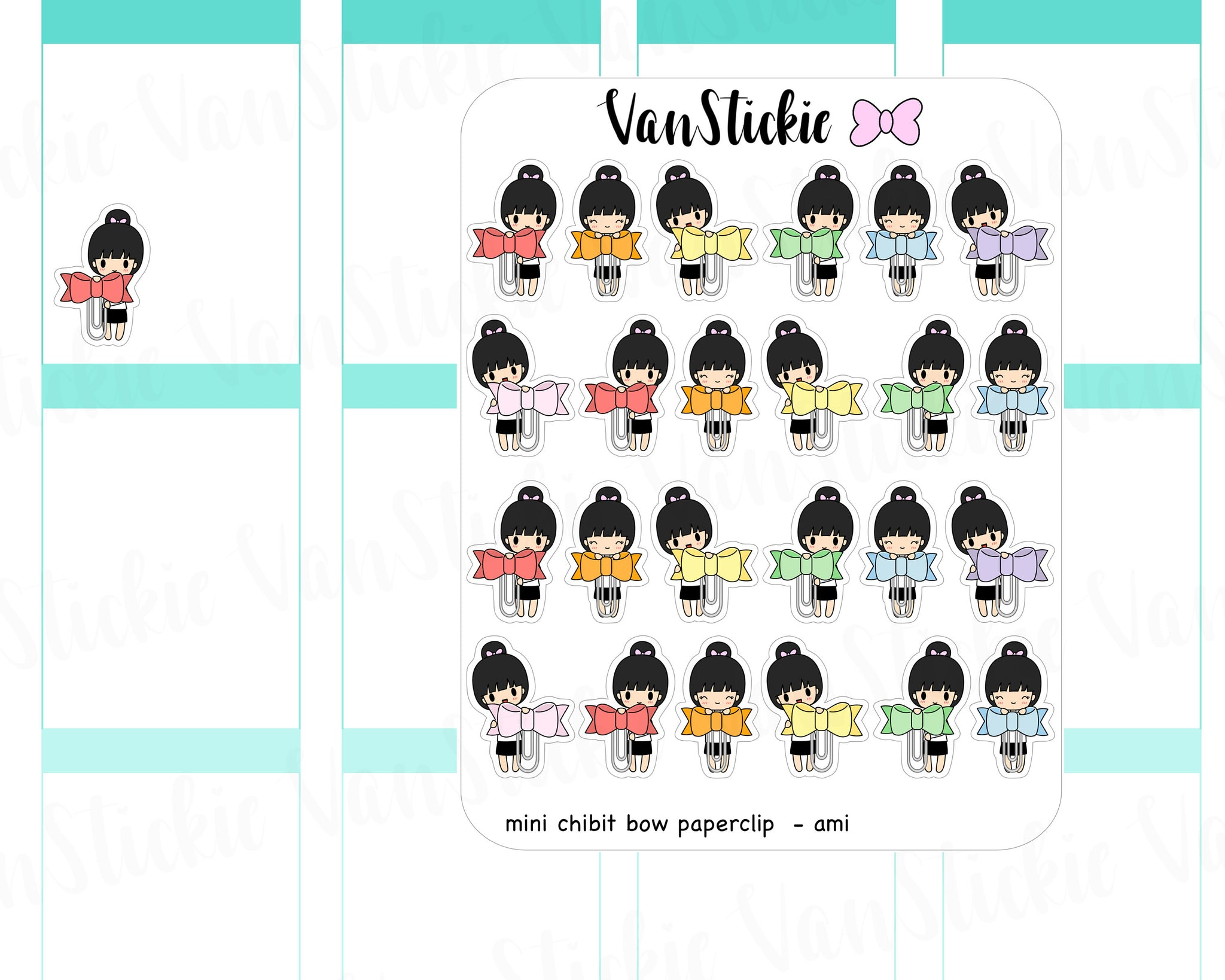 VSC 043 | Chibit - mini chibi bow paperclips Planner Stickers