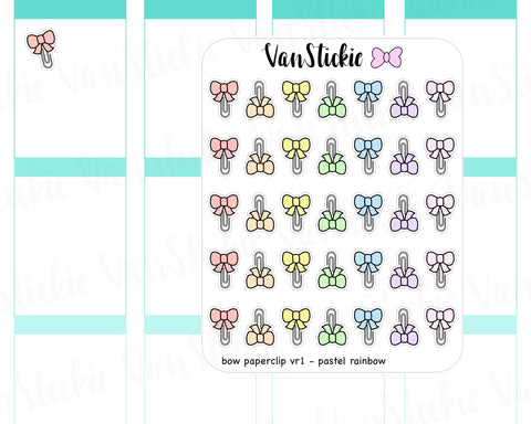F001 - Bow Paperclip vr 1 Planner Stickers