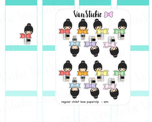 VSC 042 | Chibit - with Regular sized bow paperclips Planner Stickers