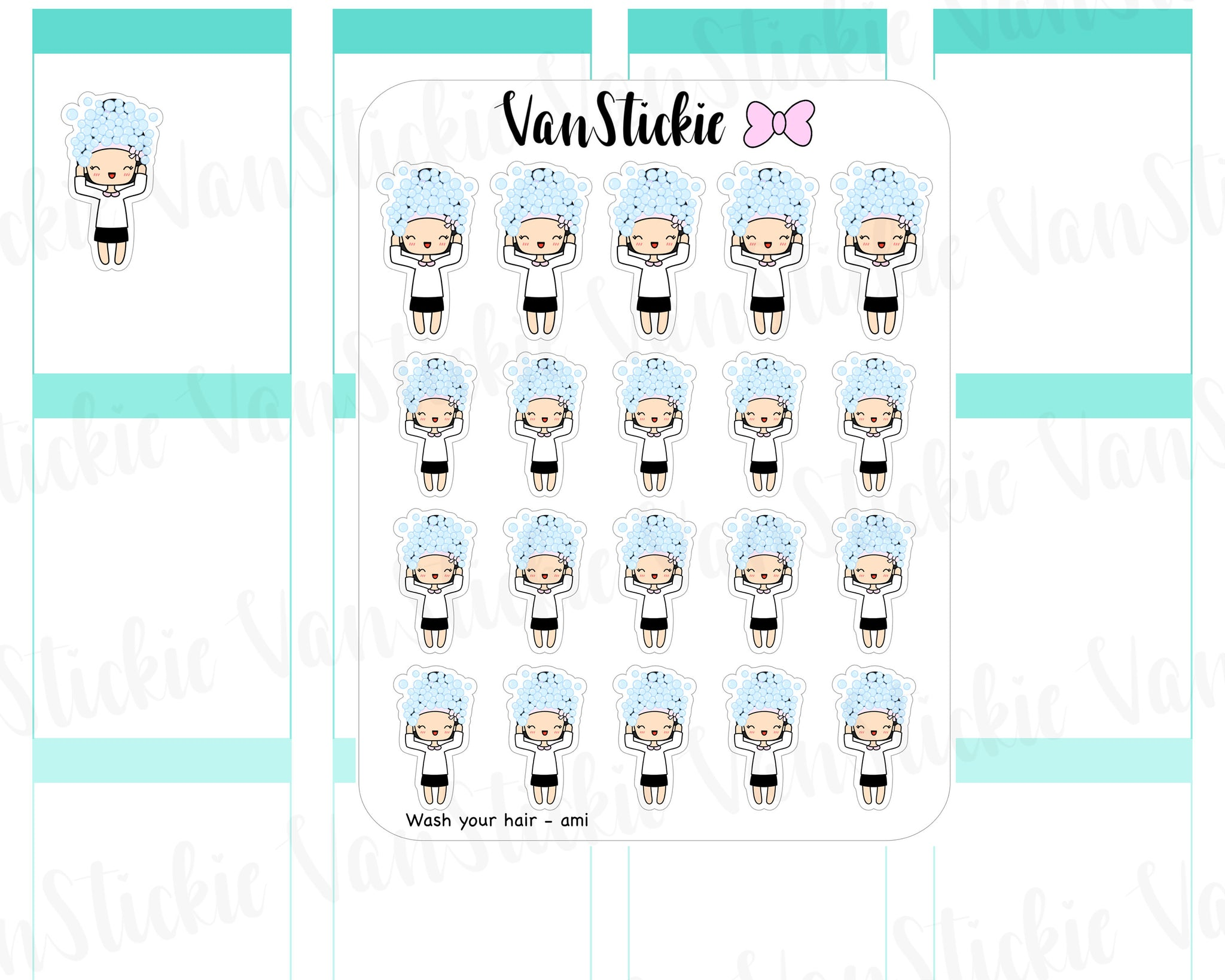VSC 051 | Chibits - Wash your hair Planner Stickers