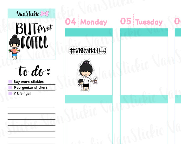 VSS 044 | Chibit Sets - Mom Life (girl child) Planner Stickers