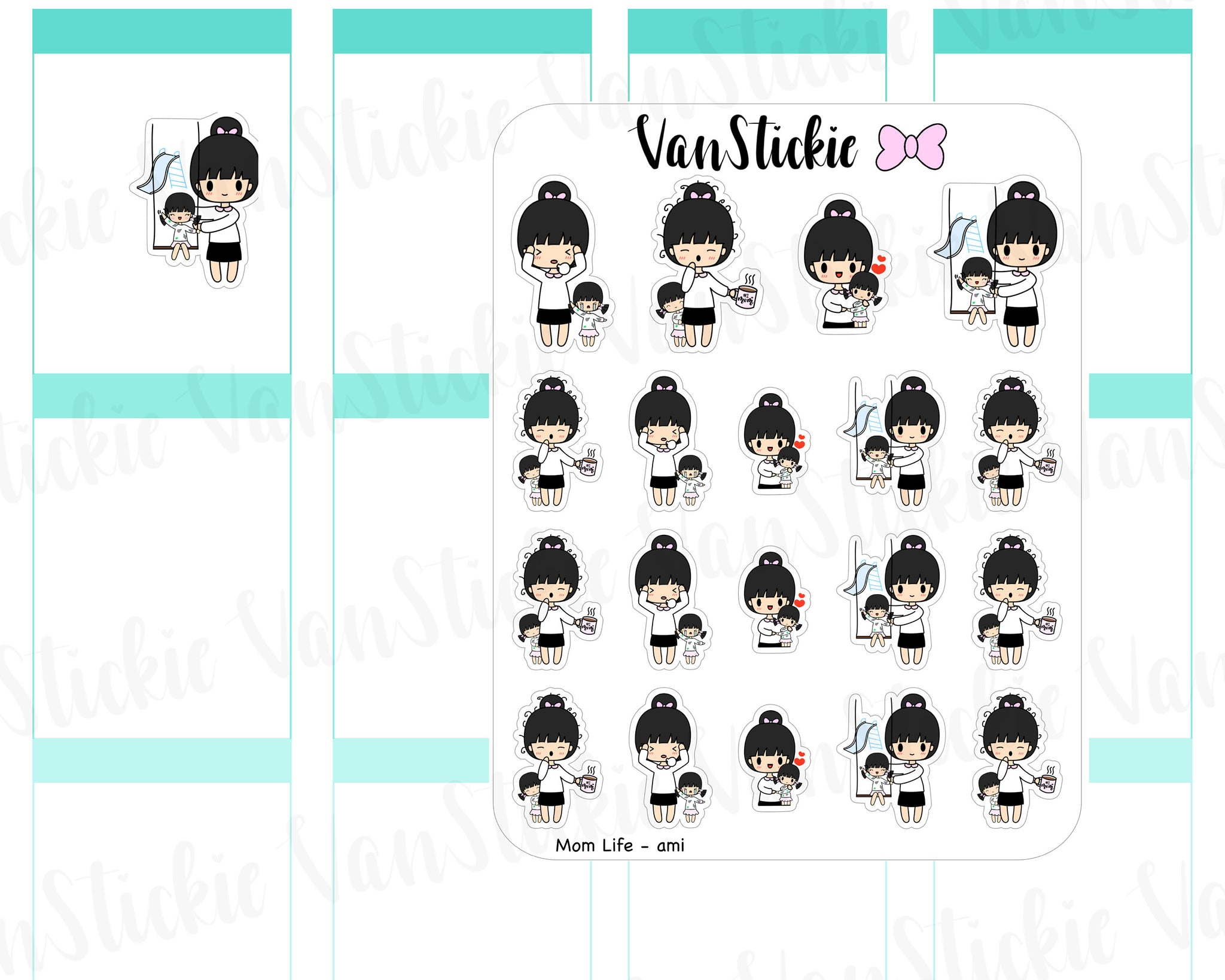 VSC 057 | Chibit - Mom Life (girl child) Planner Stickers