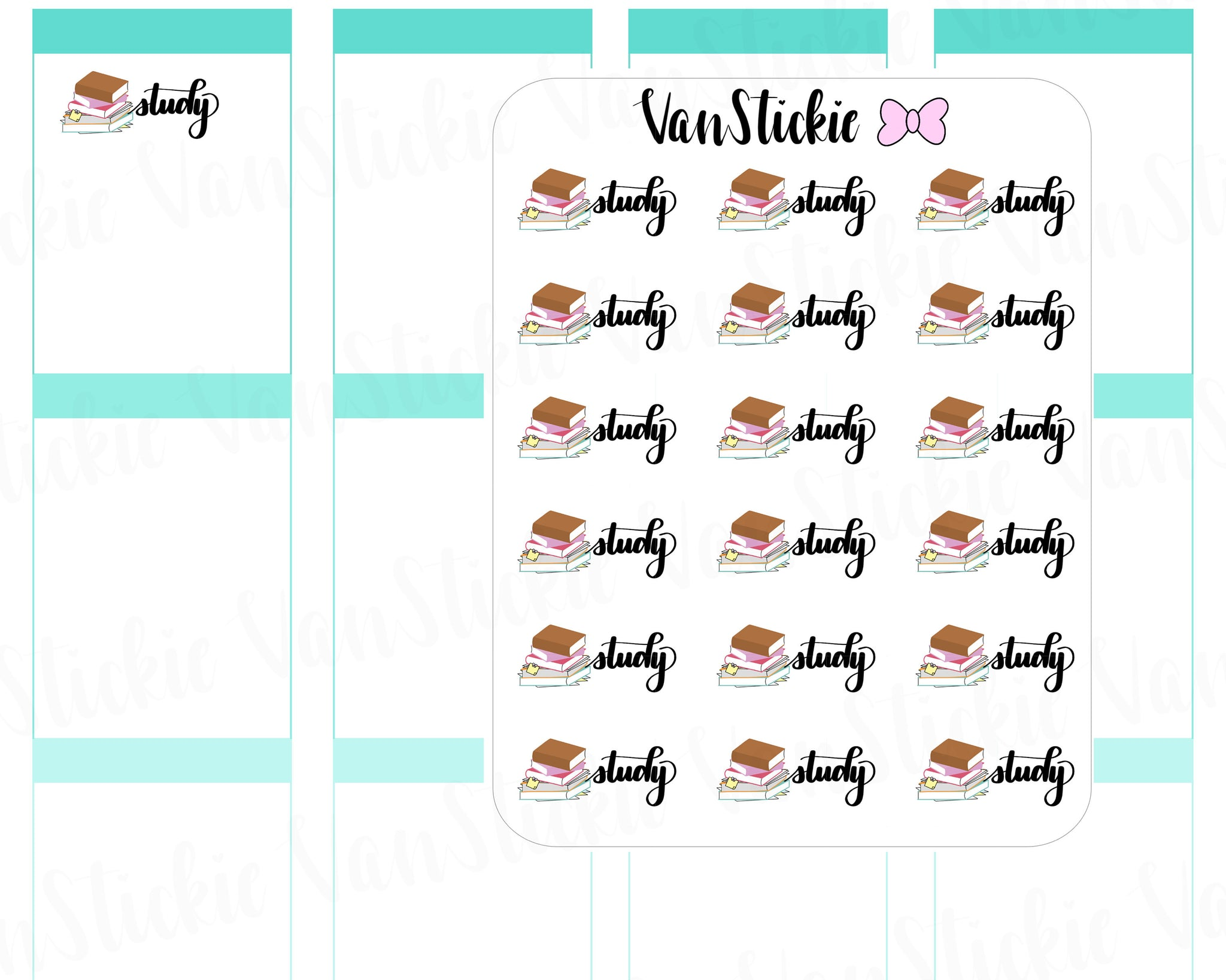 W038|Script and Icon Planner Stickers - Study
