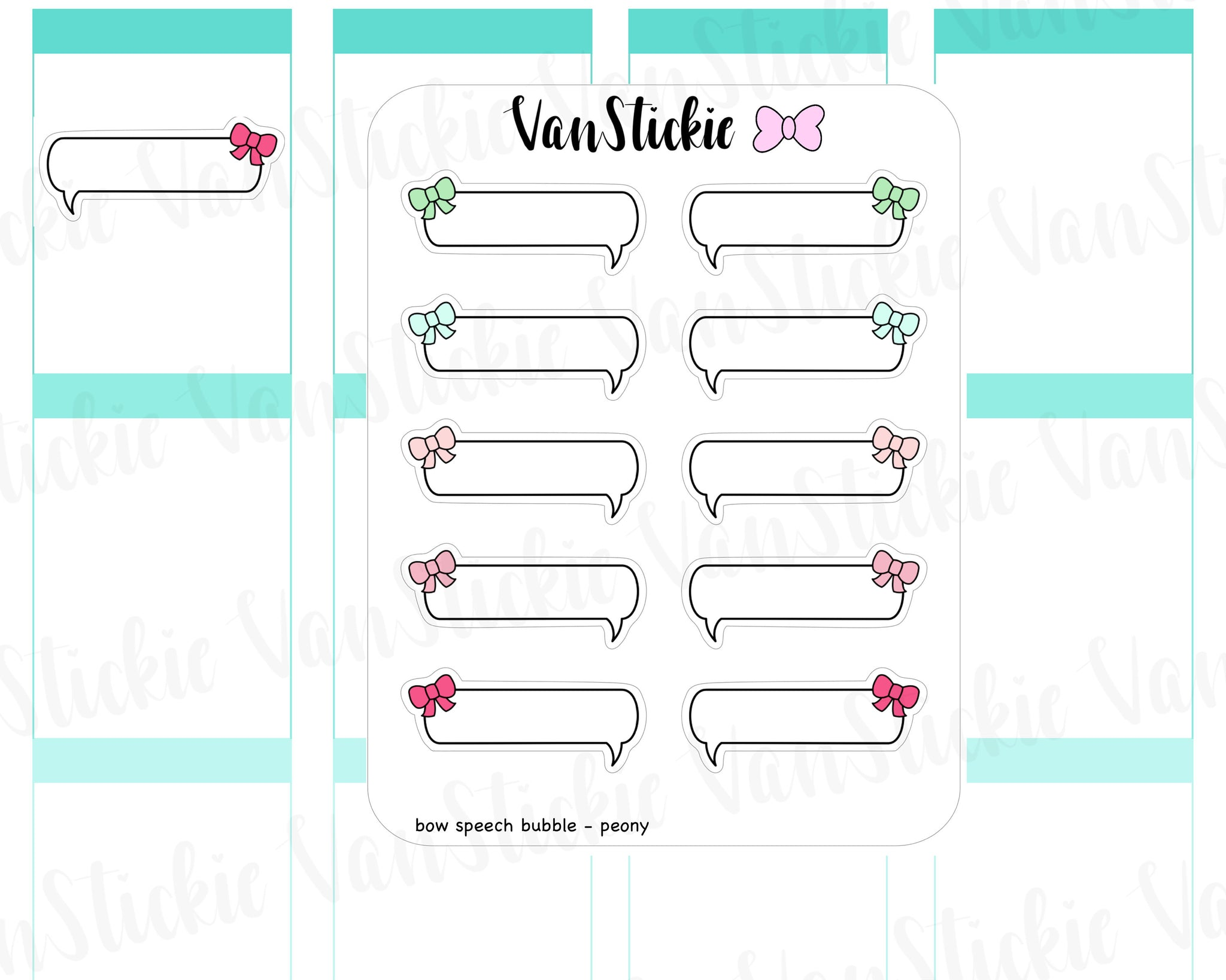 F005 - Bow Speech Bubble Planner Stickers (set of 5)