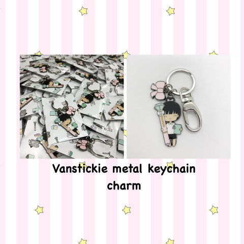 Limited Vanstickie exclusive Chibi planner girl and bow keyfob /keychain