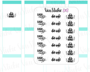W045| Hand Lettering Stickers - Date Night