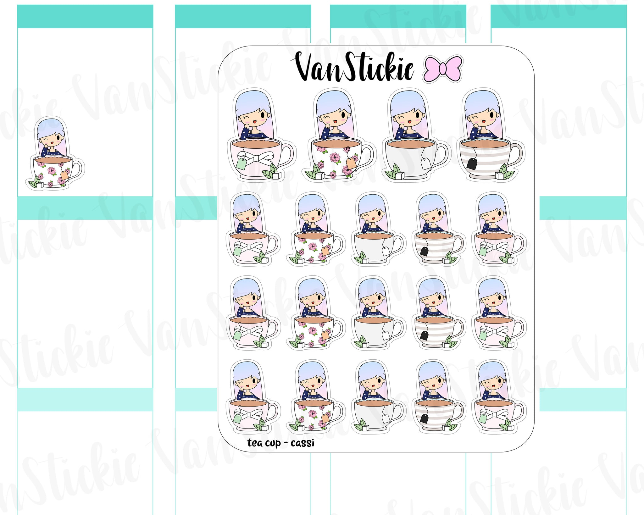 VSO 004 | Tea Cup - Ombre Haired Chibit Planner Stickers