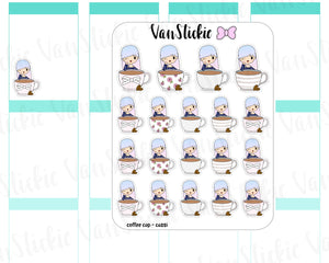 VSO 002 | Coffee Cup - Ombre Haired Chibit Planner Stickers