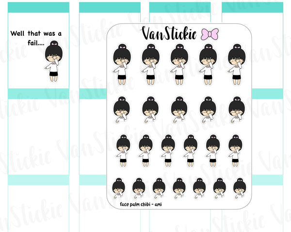 VSC 078 | Chibi -Face Palm Chibit Planner Stickers