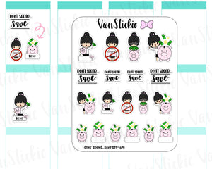 VSS 052 | Chibits Set - Don't spend...Save Chibit Set Planner Stickers