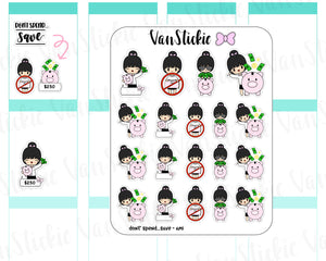VSC 074 | Chibi - Don't spend...Save Chibit Planner Stickers