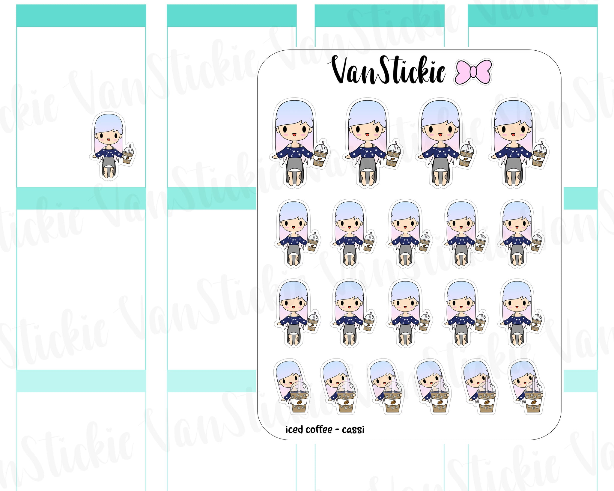 VSO 005 | Iced Coffee - Ombre Haired Chibit Planner Stickers