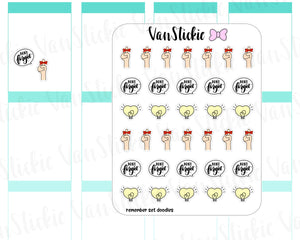 VSD 068| Doodle - remember set Planner Stickers