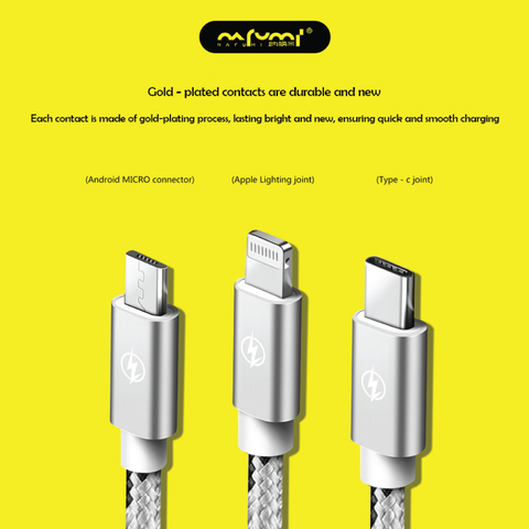 Nafumi 3.1A 3-in-1 USB Cable for Micro + Lightning + Type-C (1.2m)