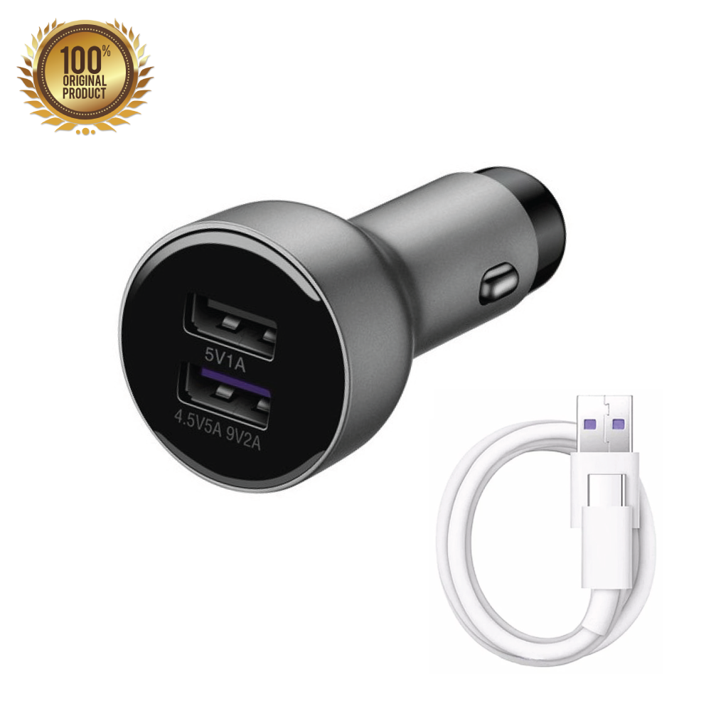 Genuine Huawei 5A Supercharge In-Car Charger + 5A Type-C USB Cable