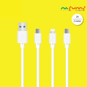 Nafumi 2A USB Cable for Micro, Lightning, Type-C (2m)
