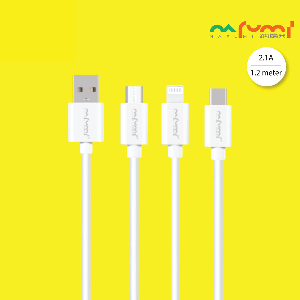 Nafumi 2.1A TPE Casing USB Cable for Micro, Lightning, Type-C (1.2m)