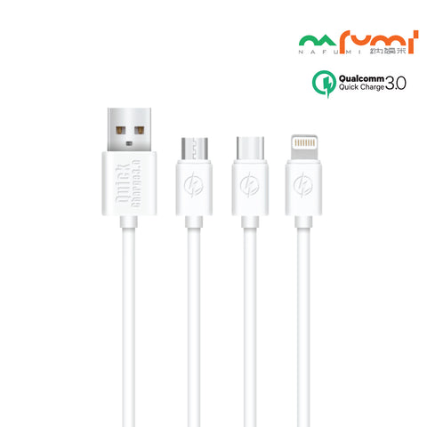 Nafumi 3A Quick Charge USB Cable for Micro, Lightning, Type-C (1.2m)