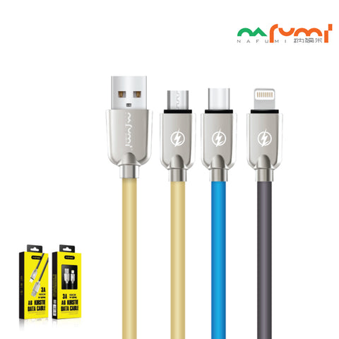 Nafumi 3A USB Cable for Micro, Lightning, Type-C (1.2m)